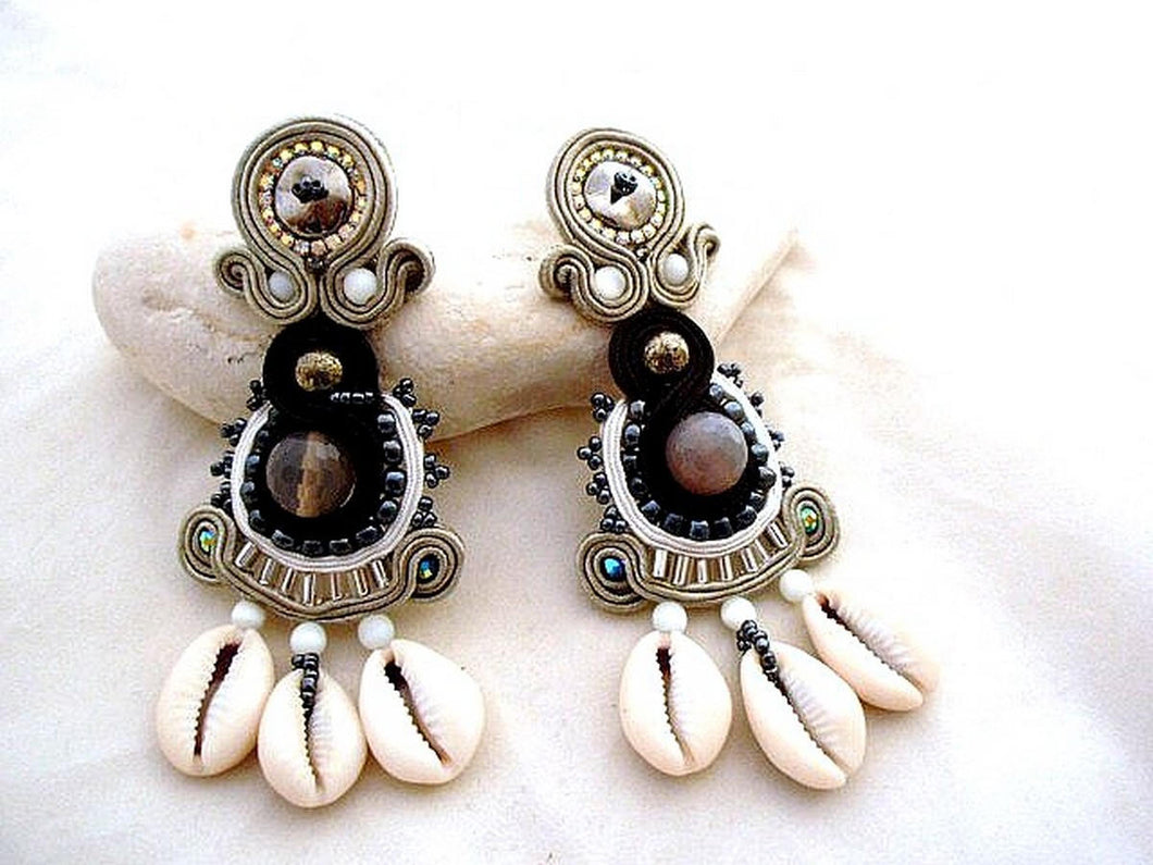 long statement African  cowrie & hematite handmade earrings - NIMBA - Beads Of Aquarius