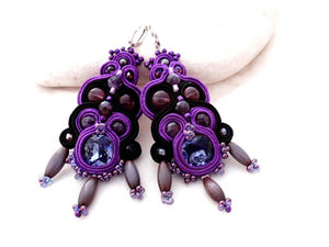 Amethyst long clip on chandelier soutache earrings - ultra violet color trends fashion jewelry 2018