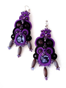 ultra violet chandelier earrings - IZMIR - beads-of-aquarius