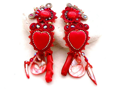 red heart dangling clip on soutache coral earrings - Beads Of Aquarius