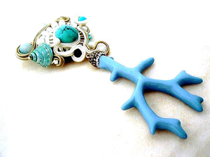 oversized turquoise branch coral brooch pin - Beads Of Aquarius