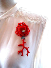 red heart long brooch clip - Beads Of Aquarius