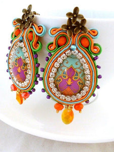 teardrop clip on colorful chandelier statement earrings - JAIMA - Beads Of Aquarius