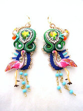 pink Flamingo statement colorful long gold earrings , XXL exotic party jewelry - BAHAMAS - - beads-of-aquarius