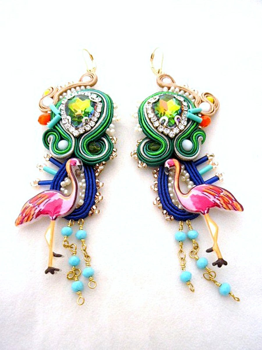 pink Flamingo statement colorful long gold earrings , XXL exotic party jewelry - BAHAMAS - - Beads Of Aquarius