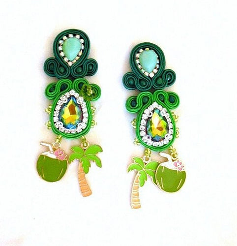 green tropical jungle palm tree coconut drop dangle statement earrings - Beads Of Aquarius