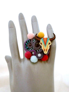 gypsy colorful cow skull oversized cocktail ring with pom pom & silk thread - Beads Of Aquarius