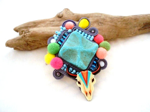 southwestern cow skull extra large turquoise brooch - Beads Of Aquarius