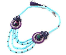 lavender bead embroidered soutache statement necklace - ULTRA VIOLET - Beads Of Aquarius
