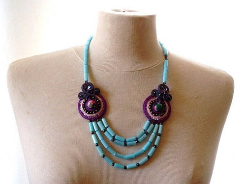 lavender bead embroidered soutache statement necklace - ULTRA VIOLET