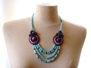 lavender bead embroidered soutache statement necklace - ULTRA VIOLET - beads-of-aquarius