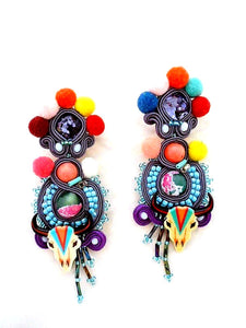 cow skull drop long pom pom soutache statement earrings - Beads Of Aquarius
