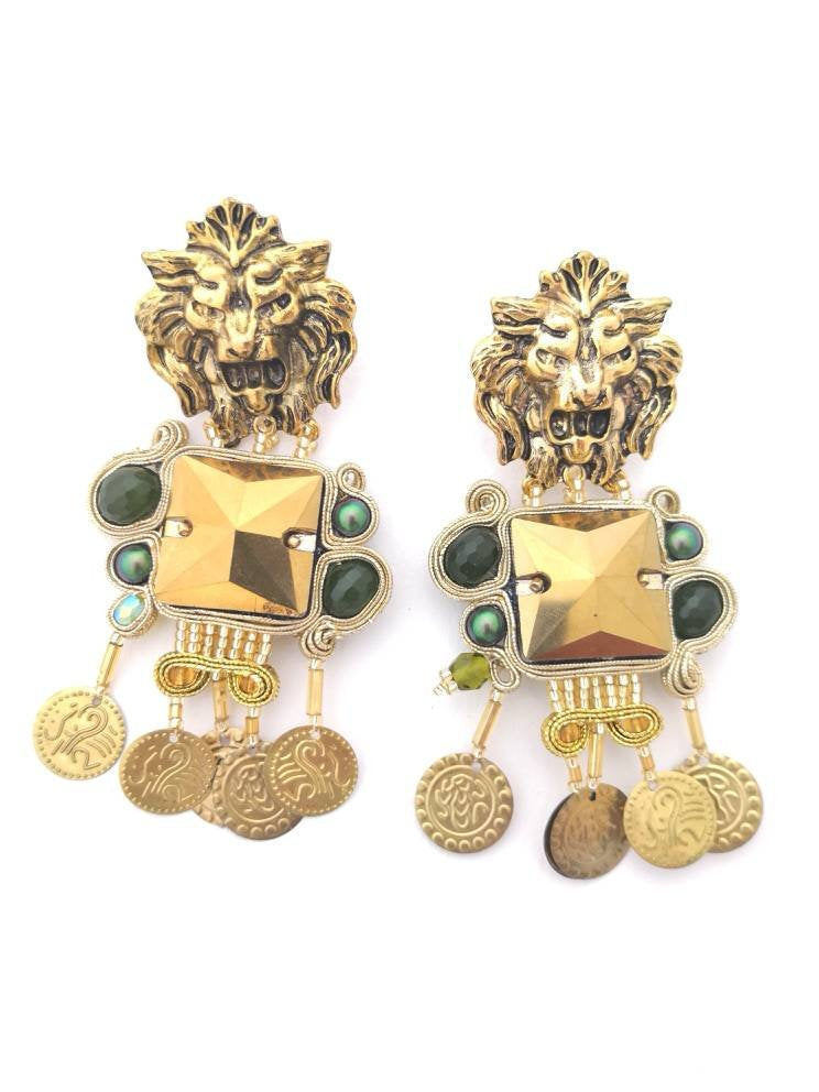 gold lion head statement silk thread earrings green jade -  BABYLON - Beads Of Aquarius