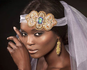 veil bridal ceremony bead embroidered headpiece - ETERNITY - Beads Of Aquarius