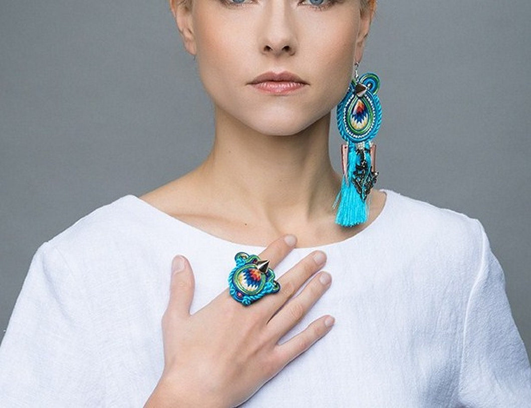 hippie chic turquoise statement cocktail ring - - beads-of-aquarius
