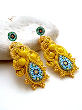 canary yellow long stud statement earrings Azulejos  ALHAMBRA - Beads Of Aquarius