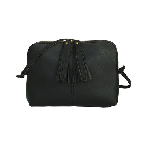 Black apple leather purse with black tassels and zip closure.  Can be worn as crossbody or clutch with removable and adjustable strap.