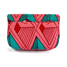 Load image into Gallery viewer, Back of small box bag with split flap front to be used as a clutch or shoulder bag.  Made with bright pink, red and teal Ankara fabric in Nigeria.