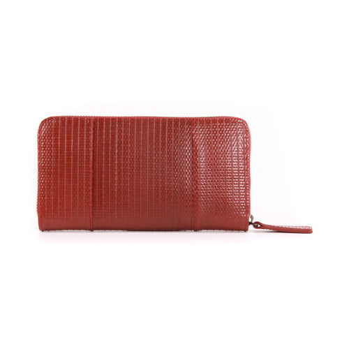 Fire Hose Wallet standing up on size, showing front