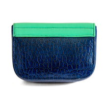 Load image into Gallery viewer, Back of small box bag with split flap front to be used as a clutch or shoulder bag.  Made textured blue leather for the body of the bag.  The top and split flap closure is made of aqua/teal leather with two magnetic snaps for closure where the split flap touches the front of the bag.