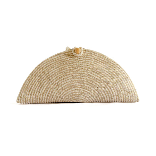 Front of Natural rope clutch.  Clutch is sewn from rope in folded taco shape with an opening in the top to put essentials.  Closed with large wooden bead and loop of rope.