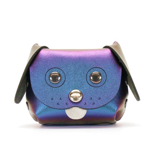 Dog coin purse in peacock blue from front
