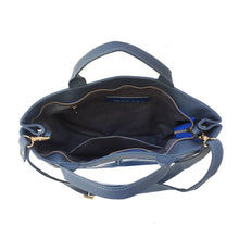 Load image into Gallery viewer, Asia crossbody looking into opening of work bag/tote in blue with embossed pattern and handles.  Zip closure and small internal pocket.  Has strap to carry as crossbody and fits computer.