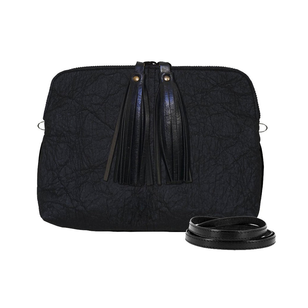 Tasman Piñatex black crossbody or clutch shown from front with two tassels on zipper pulls