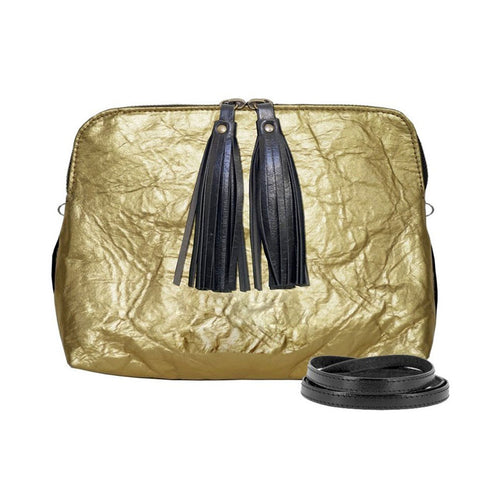 Gold piñatex crossbody purse with zip closure, black tassels and adjustable removable strap to wear as a clutch
