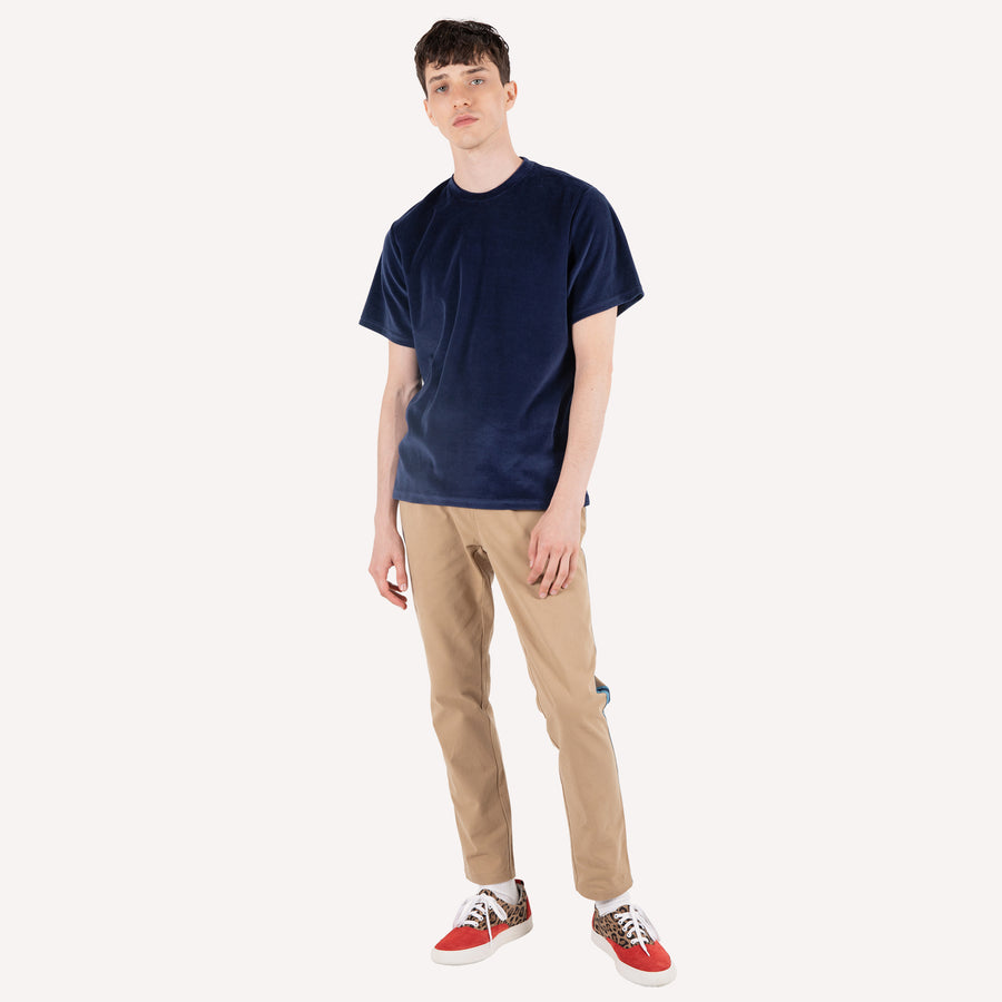 Velour T Shirt - Navy