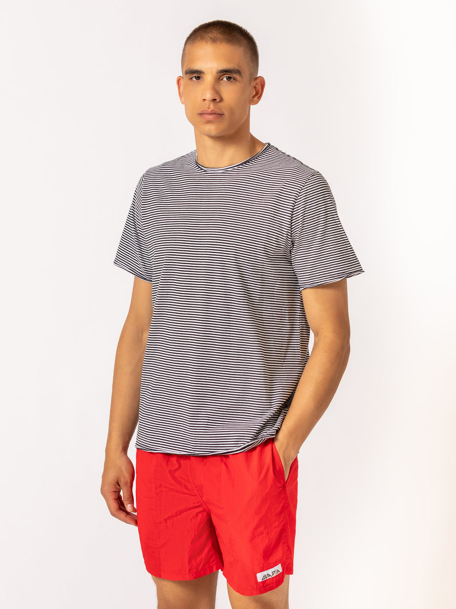 Striped Raw Edge T Shirt