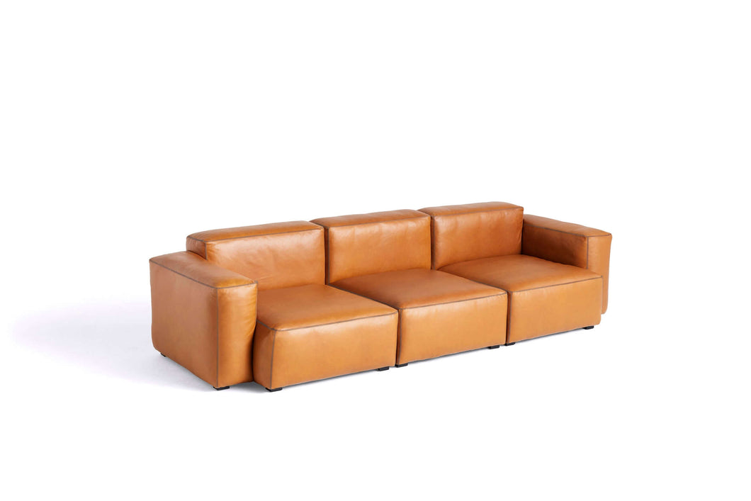 Hay Mags Soft Low 3 zit sofa combinatie 1 - Silk cognac leder - [oosterlinck]