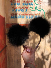 Load image into Gallery viewer, Black Pom Poms Minnie Mouse Ears