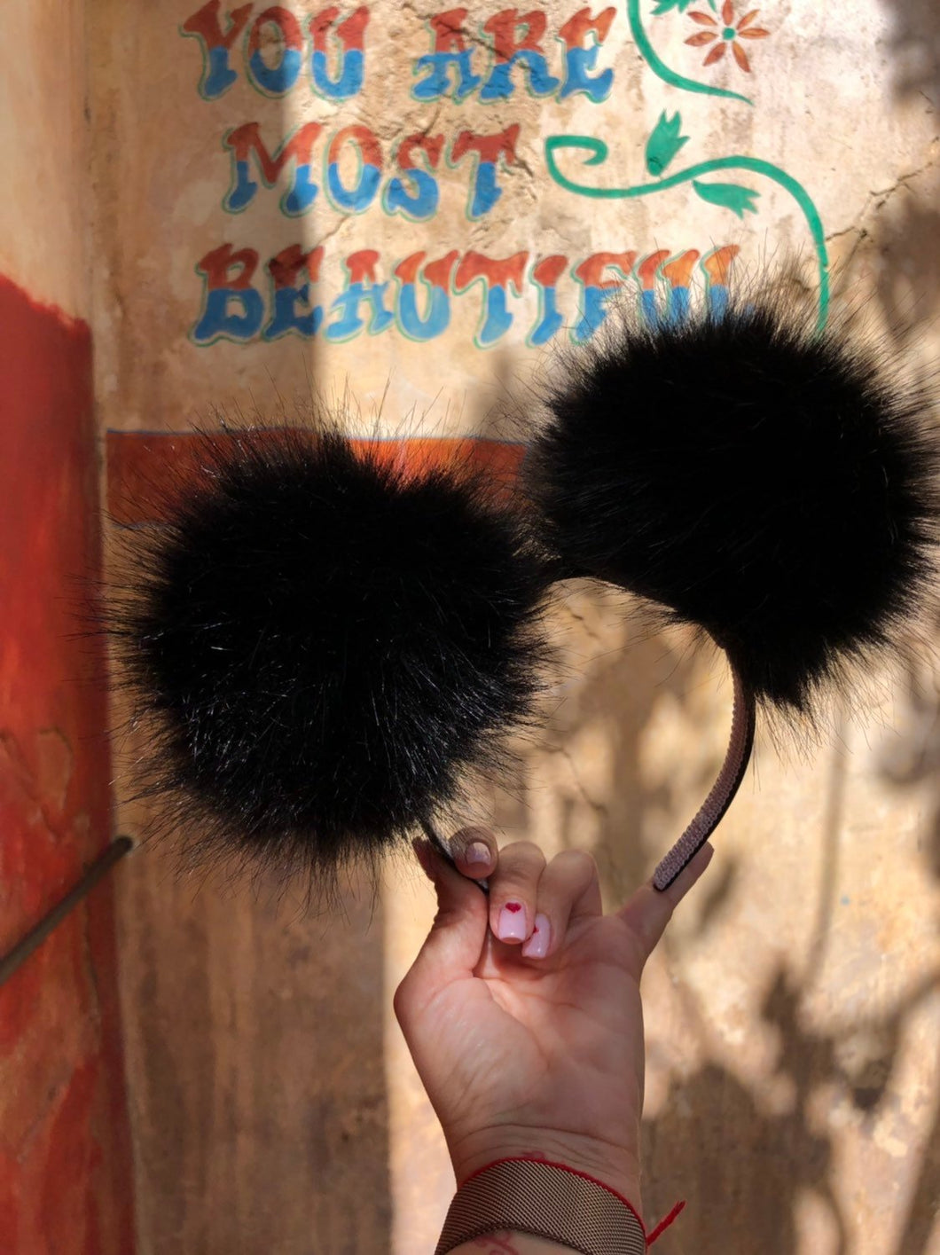 Black Pom Poms Minnie Mouse Ears