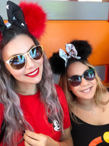 Black Pom Poms x Incredibles Bow Minnie Mouse Ears