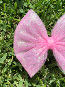 Light Pink Chunky Iridescent Glitter Tulle Bow