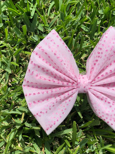 Pink Glitter Wavy Dots Tulle Bow
