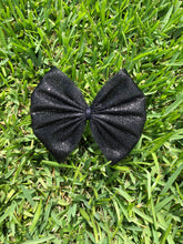 Load image into Gallery viewer, Black Glitter Tulle Bow