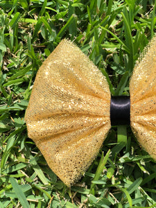 Chunky Gold Glitter x Black Ribbon Tulle Bow