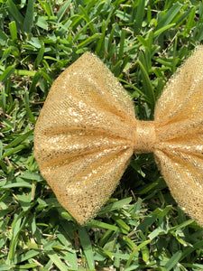Chunky Gold Glitter Tulle Bow