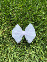 Load image into Gallery viewer, White Mesh Iridescent Glitter  Bow