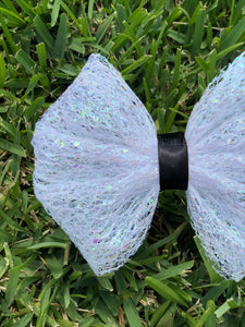 White Mesh Iridescent Glitter x Black Ribbon Bow