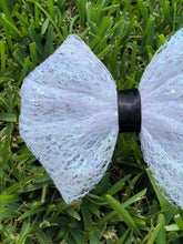 Load image into Gallery viewer, White Mesh Iridescent Glitter x Black Ribbon Bow
