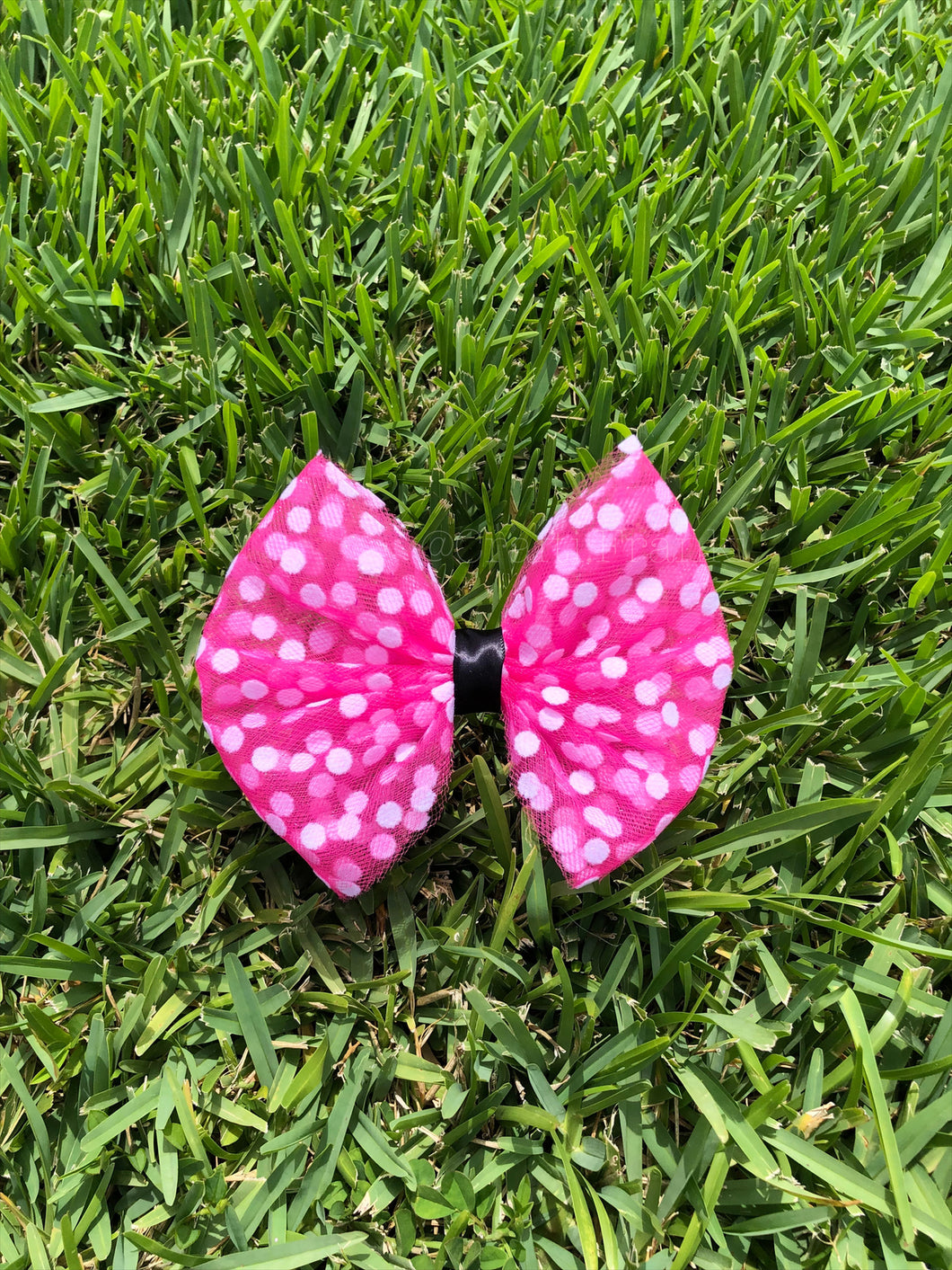 Pink Polka Dot x Black Ribbon Bow