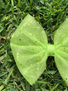 Lime Green Foil Polka Dot Bow