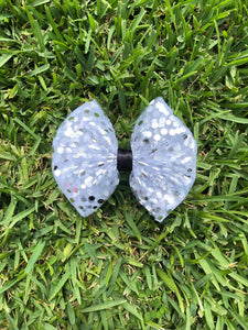 Silver Foil Polka Dot x Black Ribbon Bow