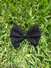Load image into Gallery viewer, Tossed Confetti Black Sequins Fabric Bow