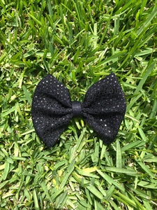 Tossed Confetti Black Sequins Fabric Bow