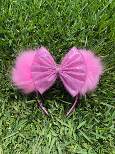 Rose Pink Glitter Tulle Bow