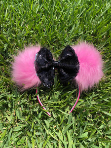 Black Sequins Reversible Bow